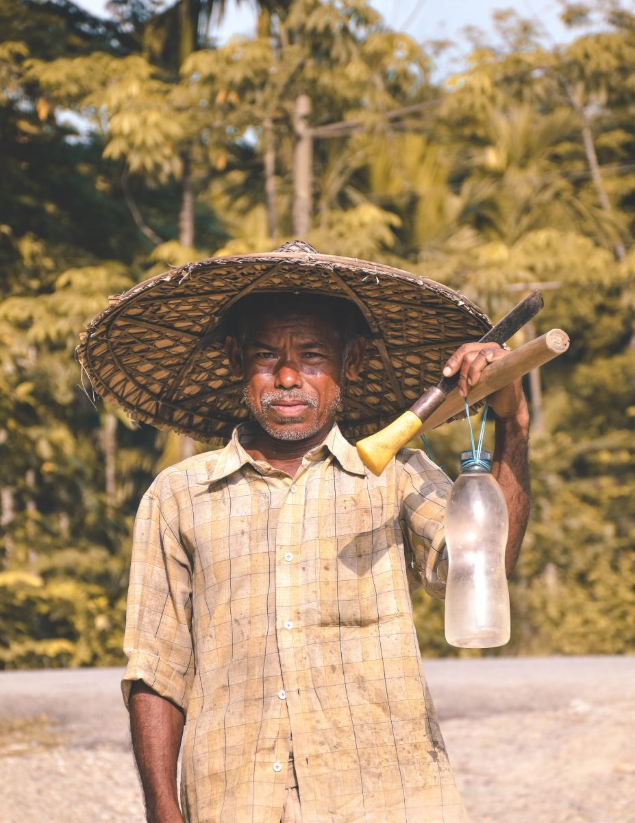 farmworker standing in field in tropics